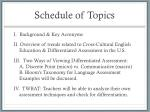 schedule of topics