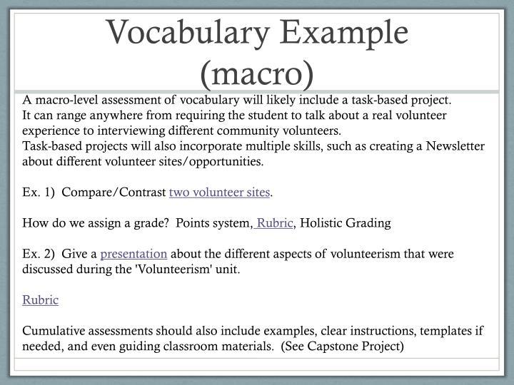 Vocabulary Example