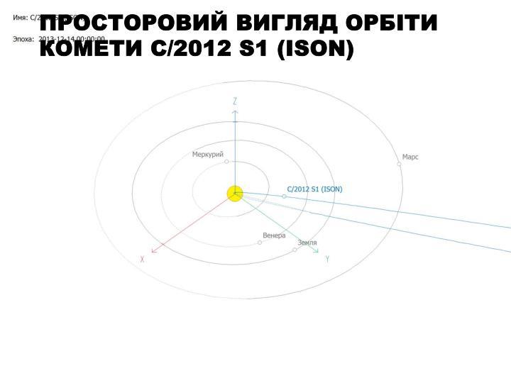 Просторовий вигляд орбіти комети C/2012 S1 (ISON)