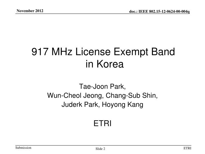 917 mhz license exempt band in korea
