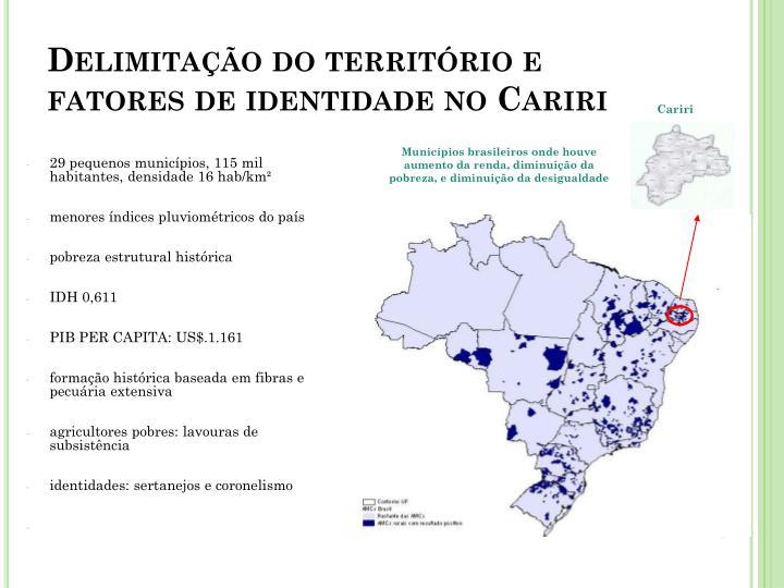 Delimitação do território e fatores de identidade no Cariri