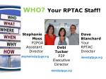 who your rptac staff