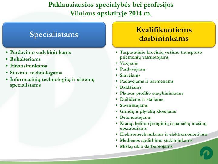 Paklausiausios specialybės bei profesijos