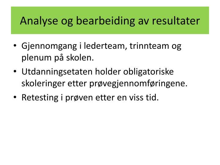 Analyse og bearbeiding av resultater