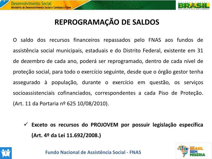 REPROGRAMAÇÃO DE SALDOS