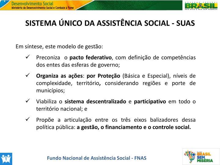 SISTEMA ÚNICO DA ASSISTÊNCIA SOCIAL - SUAS
