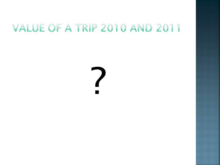 Value of a trip 2010 and 2011