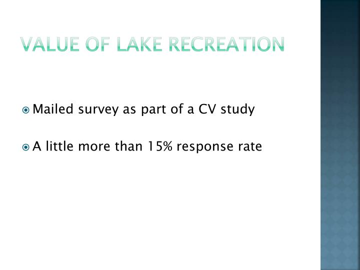 Value of Lake Recreation