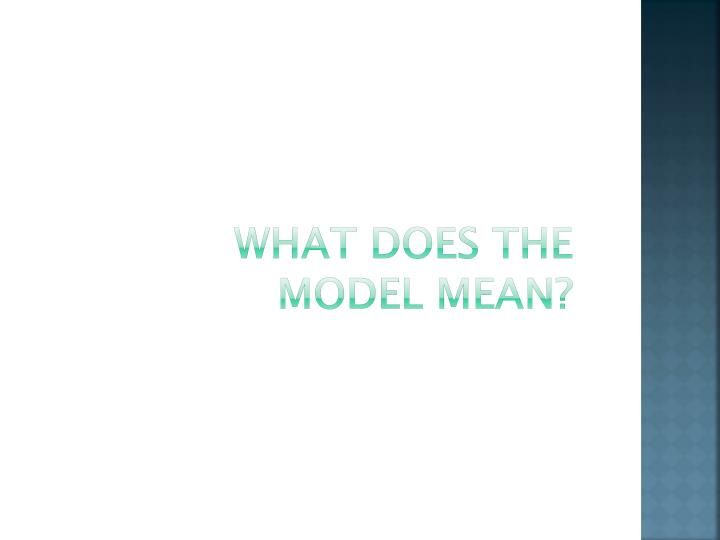 WHAT DOES THE MODEL MEAN?