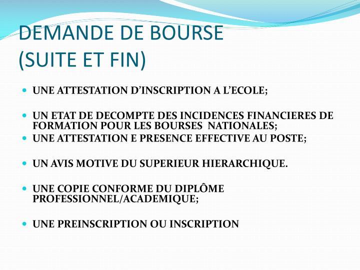 DEMANDE DE BOURSE