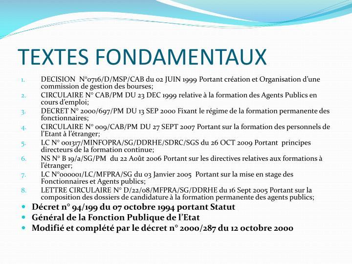 TEXTES FONDAMENTAUX