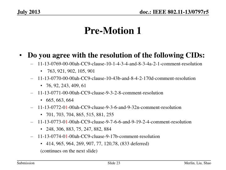 Pre-Motion 1