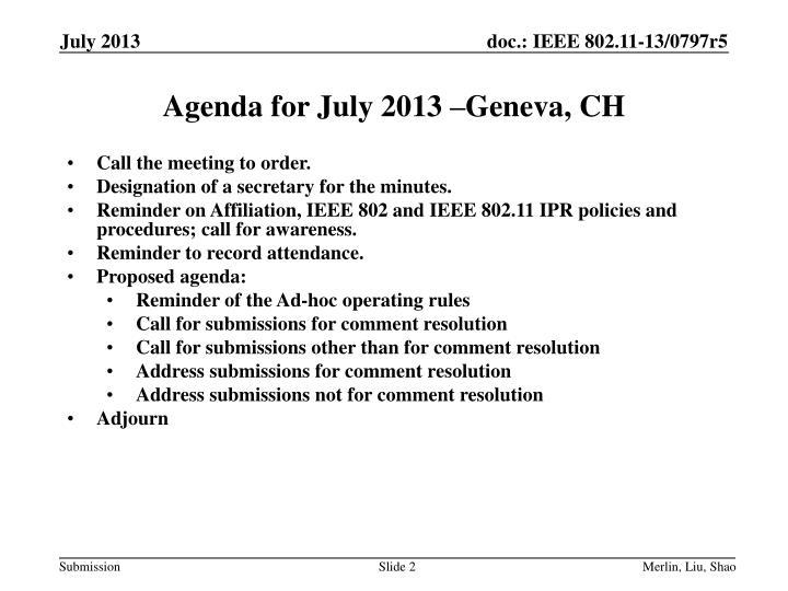 Agenda for