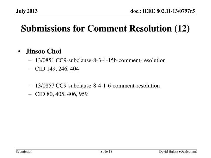 Submissions for Comment Resolution