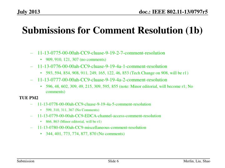 Submissions for Comment Resolution (