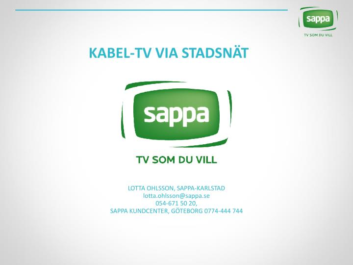 Kabel tv via stadsn t
