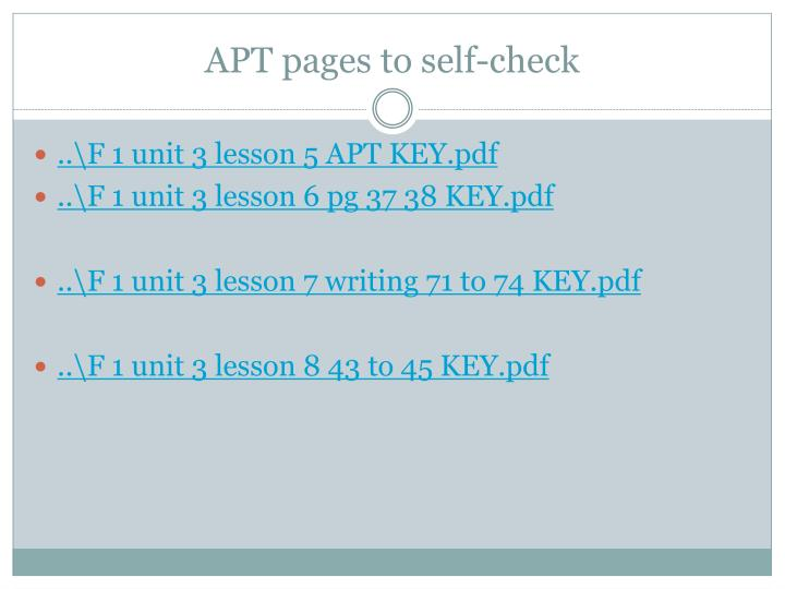 APT pages to self-check