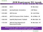jior requirements wg agenda