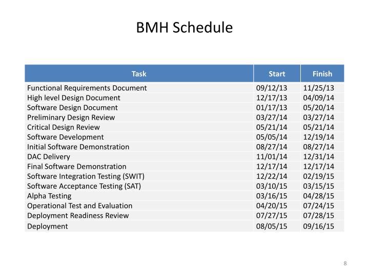 BMH Schedule