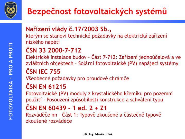 Bezpečnost fotovoltaických systémů