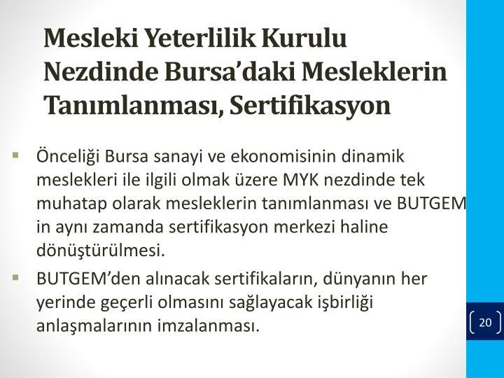 Mesleki Yeterlilik Kurulu Nezdinde Bursa'daki Mesleklerin
