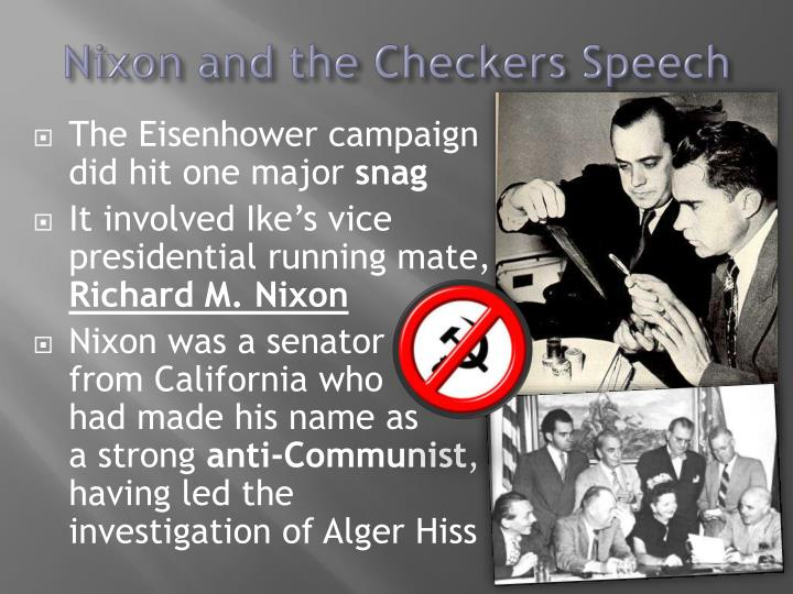 the political triumph of richard nixon the checkers speech Fifty-nine years ago today, republican vp candidate richard nixon went on tv to give what's known as the checkers speech why does a speech named after a dog live on in our cultural subconscious all these years later.
