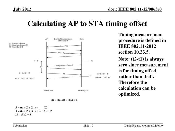 Timing measurement procedure is defined in IEEE 802.11-2012 section 10.23.5.