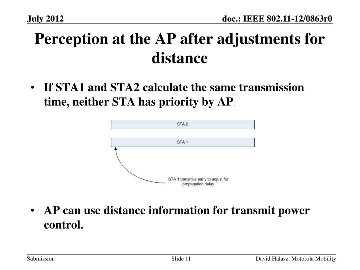 If STA1 and STA2 calculate the same transmission time, neither STA has priority by AP