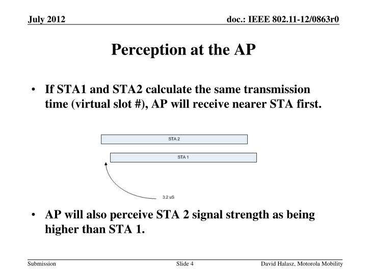 If STA1 and STA2 calculate the same transmission time (virtual slot #), AP will receive nearer STA first.