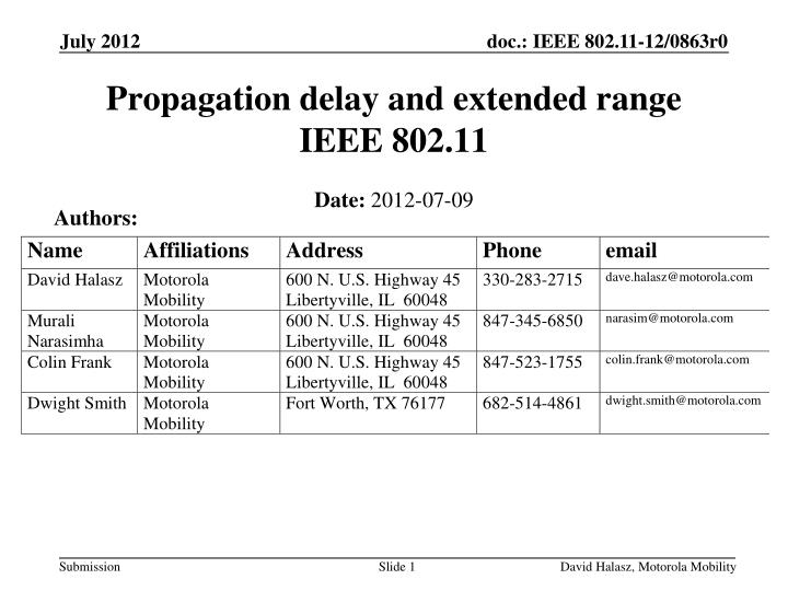 Propagation delay and extended range ieee 802 11