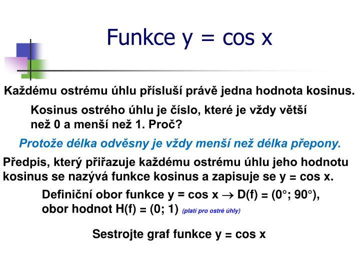 Funkce y = cos x