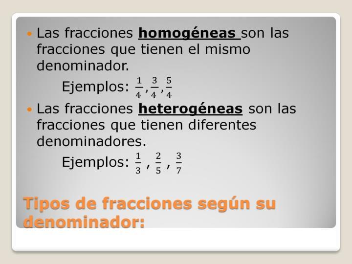Tipos de fracciones según su denominador: