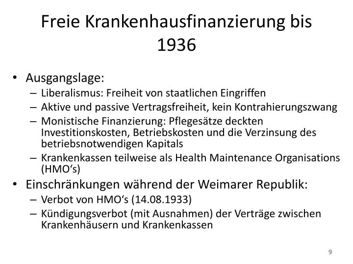 Freie Krankenhausfinanzierung bis 1936