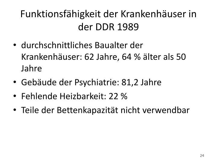 Funktionsfähigkeit der Krankenhäuser in der DDR 1989