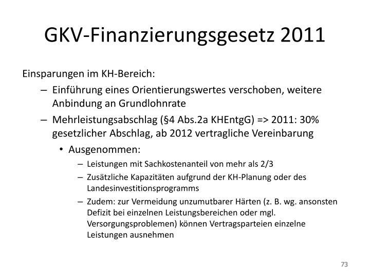 GKV-Finanzierungsgesetz 2011