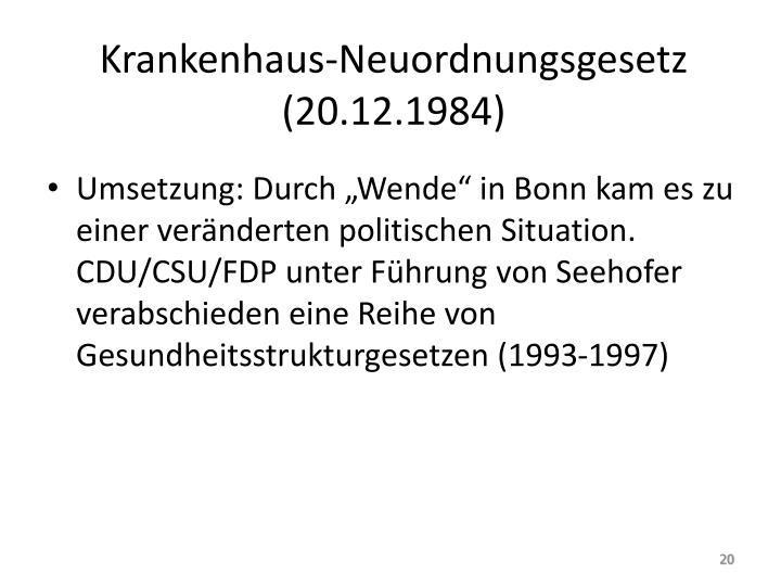 Krankenhaus-Neuordnungsgesetz (20.12.1984)
