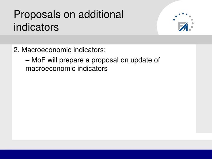 Proposals on additional indicators