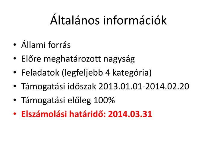 Általános információk