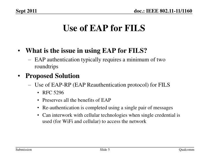 What is the issue in using EAP for FILS?