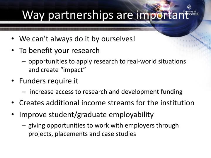 Way partnerships are important