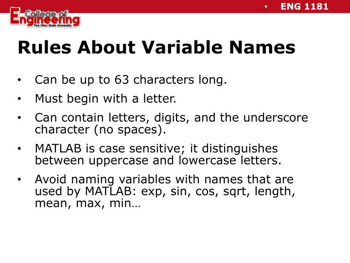Rules About Variable Names