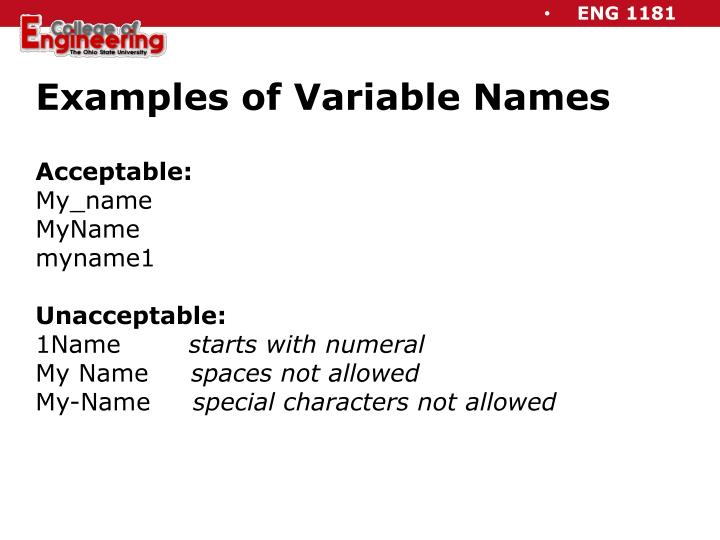 Examples of Variable Names