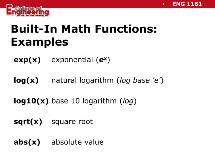 Built-In Math Functions: Examples