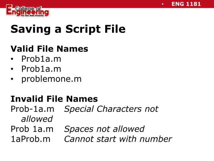 Saving a Script File