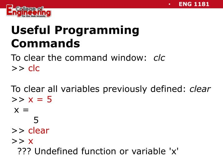 Useful Programming Commands
