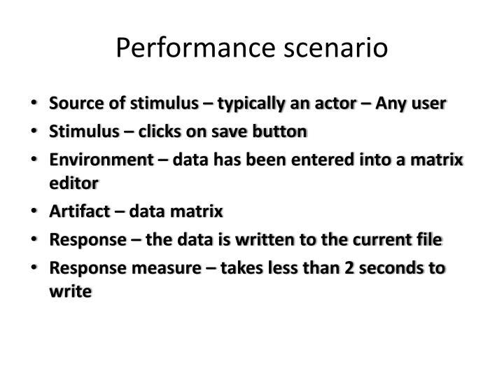 Performance scenario