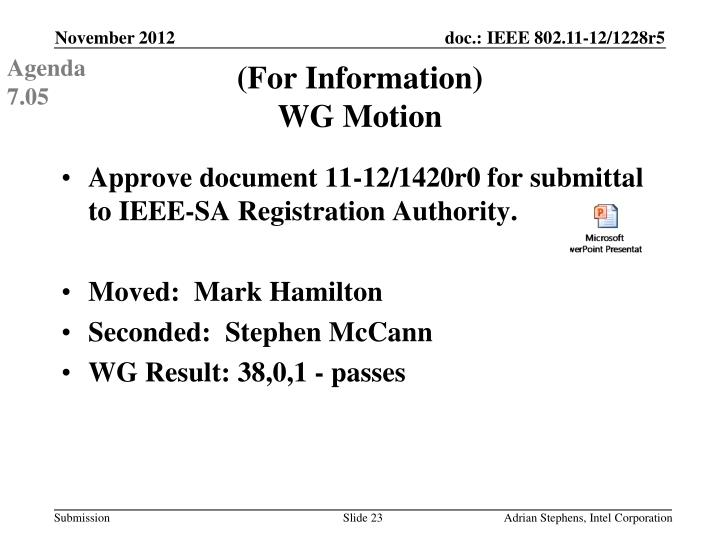 Approve document 11-12/1420r0 for submittal to IEEE-SA Registration