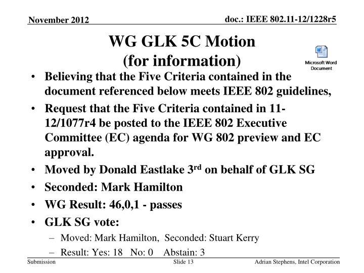WG GLK 5C Motion