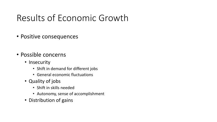 Results of Economic Growth