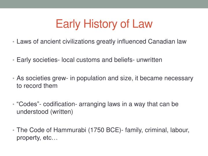 Early History of Law